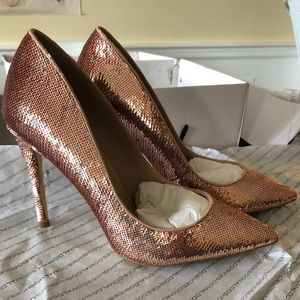 Aldo Stessy Rose Gold Sequined Heels